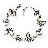 Antique Silver Butterfly Bracelet - 18cm Length & 3cm Extension