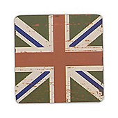 Union Jack Flag Coaster in a Vintage Design - Single Green