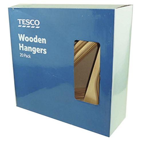 Tesco Wooden Hangers 20Pk
