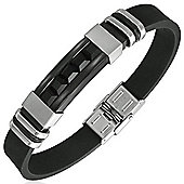 Urban Male Modern Bangle For Men In Stainless Steel & Black Rubber