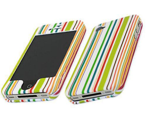 iTALKonline 17402 Green Orange White Red RAINBOW SnapGuard Protection Case - Apple iPhone 4 (RS-003)