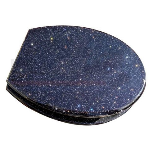 Glitter Black Fun Toilet Seat with Metal Round Hinges