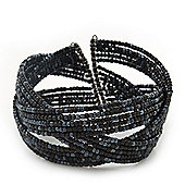 Boho Black/ Anthracite Grey Glass Bead Plaited Flex Cuff Bracelet - Adjustable