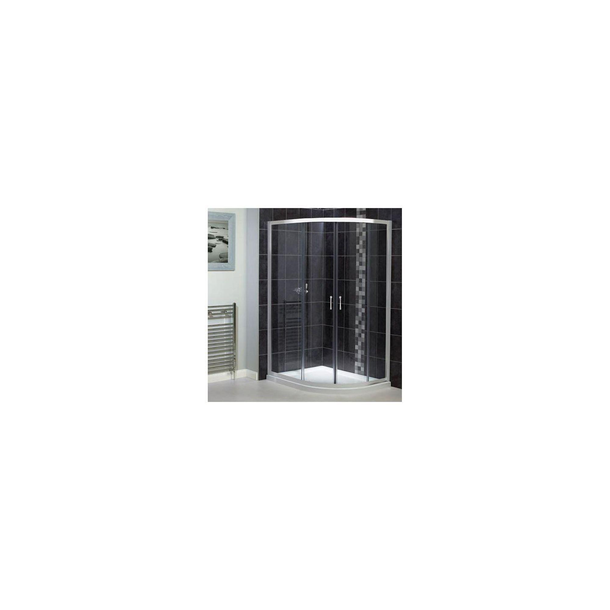 Aqualux Shine Offset Quadrant Shower Door, 1000mm x 800mm, Polished Silver Frame, 6mm Glass at Tescos Direct