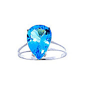 QP Jewellers 5.0ct Blue Topaz Pear Drop Ring in 14K White Gold