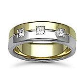 Jewelco London 18ct Yellow & White Gold 7mm Flat Court Diamond set 45pts Trilogy Wedding / Commitment Ring