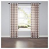 Leaf Print Eyelet Curtains - Natural