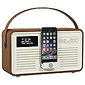 VQ Retro MK II DAB/DAB+/FM/Bluetooth Radio with Apple Lightning Dock (Brown)