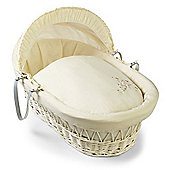 Clair de Lune White Wicker Moses Basket (Starburst Cream)