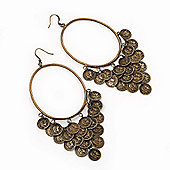 Oversized Coin Hoop Earrings In Bronze Finish - 13cm Length