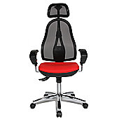 Topstar Open Point Mesh Mid-Back Task Chair - Adjustable Arms - Red - With Headrest
