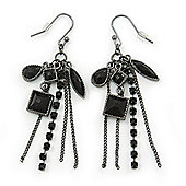 Victorian Style Black Bead & Chain Dangle Earrings In Gun Metal Finish - 60mm Length
