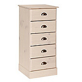 Terra Narrow 5 Drawers In Pine/White
