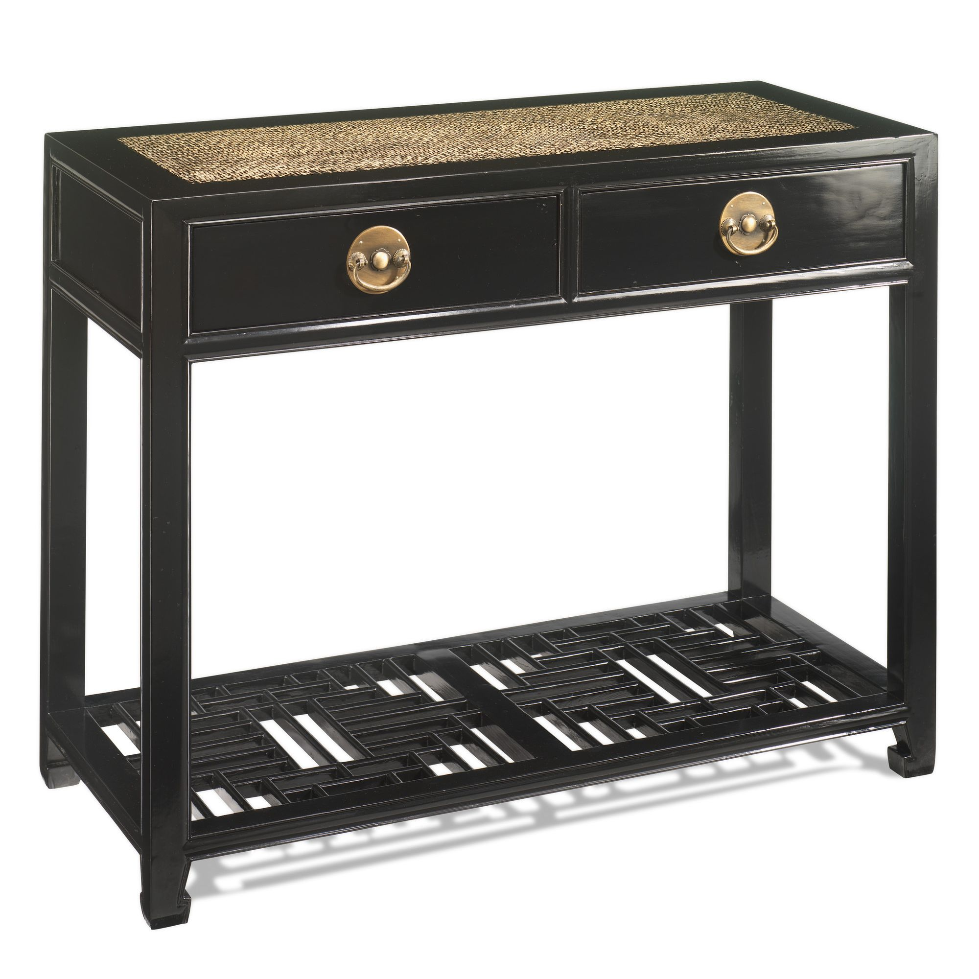 Shimu Chinese Classical Carved Console Table - Black Lacquer at Tesco Direct