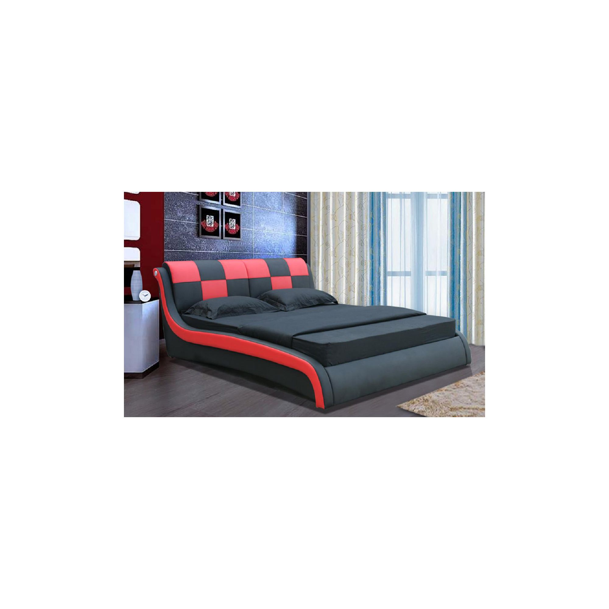 Giomani Designs Designer Check Bed - Red / Black - Double at Tescos Direct