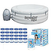 Bestway Lay-Z-Spa Vegas & Gold Starter Kit -Filters Chemicals, Multifunction Tab