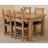 Richmond Solid Oak Extending 140 - 220 cm Dining Table with 4 Lincoln Dining Chairs