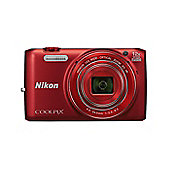 Nikon Coolpix S6800 Digital Camera, Red, 16MP, 12x Optical Zoom, 3 LCD Screen