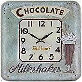 Roger Lascelles Clocks Square Tin Chocolate Wall Clock