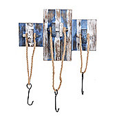 Nautical Themed Triple Rope Coat Hook in a Rustic Blue & White Finish