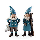 Set of Two Winter Skating Boy & Girl Christmas Figurine Ornaments