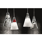 De Majo Gemma Pendant - Clear Frosted Shade - Clear - Two Bulbs