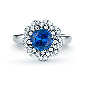 The REAL Effect Rhodium Plated Sterling Silver Sapphire-Blue-Colour Cubic Zirconia Dress Ring Size