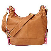 OiOi Soft Tan Leather Hobo Bag with Bright Pink Trim