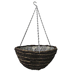 "Tesco 14"" Natural Round Hanging Basket, Dark Brown"