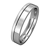 Platinum - 4mm Essential Flat-Court Band with Fine Groove Part Satin Finish Commitment / Wedding Ring -