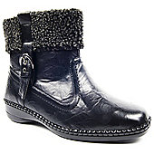 Brantano Caravelle Ladies Wide Fit Get Warm Black Fleece Topped Ankle Boot Zip Winter Boots - Black