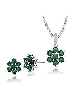 Gemondo 925 Sterling Silver Emerald Floral Stud Earrings & 45cm Necklace Set