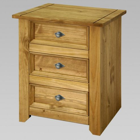 Home Essence Mendoza 3 Drawer Bedside Table in Antique Wax