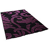 Think Rugs Majesty Black/Purple Shaggy Rug - 80 cm x 150 cm (2 ft 8 in x 4 ft 11 in)