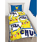 Pokemon Pikachu Single Duvet Cover and Pillowcase Set