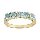 Gemondo Gold Plated Sterling Silver 1.39ct Natural Blue Topaz Classic Five Stone Ring
