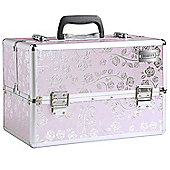 Beautify Large Pink Rose Print Beauty Cosmetics Make Up Case