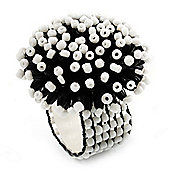 Black & White Glass Floral Stretch Ring