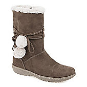 Pavers Calf Boot with Wraparound Lace & Pom Poms - Grey