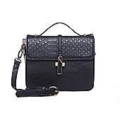 Black and Cream Faux Croc Skin Handbag