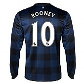 2013-14 Man United Away Long Sleeve Shirt (Rooney 10) - Kids - Blue