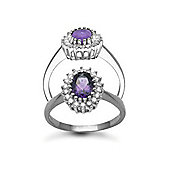 Jewelco London 9 Carat White Gold 23pts Diamond & Amethyst Ring