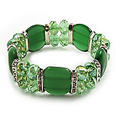 Green Cat Eye Glass Bead Flex Bracelet -18cm Length
