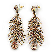 Long Champagne CZ 'Feather' Drop Earrings In Burn Gold Finish - 8cm Length