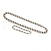 Silver, 5.5-6.0mm Freshwater Pearl and Onyx Necklace and Bracelet Set