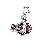 Jewelco London Rhodium Coated Sterling Silver Multi Coloured Crystal Link Charm