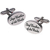 Silver Satin Oval Step Brother of the Bride Wedding Cufflinks