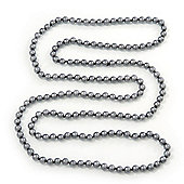 Long Grey Glass Bead Necklace - 140cm Length/ 8mm