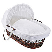 Clair de Lune Dark Wicker Moses Basket (Honeycomb White)