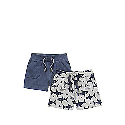 F&F 2 Pack of Plain and Shark Print Jersey Shorts 06 - 09 months Grey/Navy